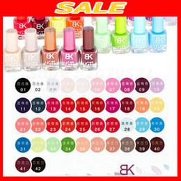 Wholesale Free Nail Varnish - Wholesale- 42 PCS Free shipping Bk nail varnishes 18'' Quick drying oil naked 8 ml of 42 colors Optional cosmetics nail polish nail enamel