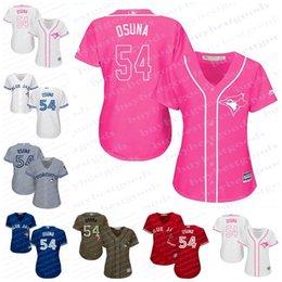 Wholesale Womens Orange Shirts - 2017 Womens Toronto Blue Jays Jerseys 54 Roberto Osuna Baseball Jerseys Ladies Shirt Cool Base White Pink Blue Red Grey Stitched Size S-2XL