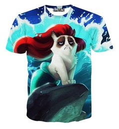 Wholesale Men Waves Hair - High Quality men women Harajuku t shirt Red hair mermaid waves of angry cat tshirts animal 3d printed t-shirts cartoon tee shirt