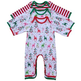 Wholesale Infants Rompers Baby Animal - Infant Christmas Pajamas Rompers infant Personalized Spring Autumn romper Baby girl boy Deer Christmas tree print Gown 4styles 6size