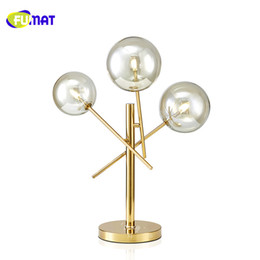 Wholesale Led Stainless Table Lamps - FUMAT New Modern Clear Glass Table Lamps Gold Stainless Steel Table Light For Living Room Restaurant Simple Desk Lamp Bedroom