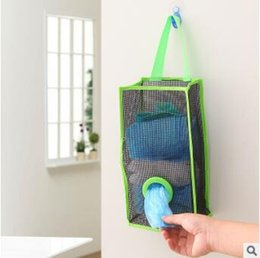 Wholesale Eco Recycle Bag - Hanging Trash Storage Bags Mesh Grocery Bag Dispenser Kitchen Bathroom Garbage Bag Organizer Holder Recycling Containers Bag CCA7034 100pcs