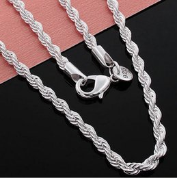 Wholesale Sterling Silver Rope Chain 3mm - 50pcs lot!NEW Arrival 925 Sterling Silver Necklace Chains Pretty Cute Fashion Charm 3MM Twisted Rope Chain Necklaces Jewelry 16-24 inches