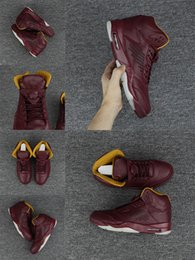 Wholesale Top Low Cut Basketball Shoes - Cheap New 5 shoe Premium Bordeaux Man Basketball Shoes Wine red Top quality sport 5s Brand Mens sport Sneakers US 8-13