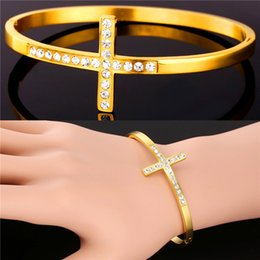 Wholesale T Cuff - U7 Rhinestone T Bracelet Gift for Love Stainless Steel 18K Real Gold Plated Fashion Bangles For Women Accessories