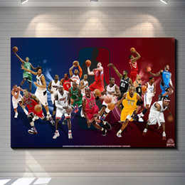 Wholesale Modern Sports Wall Art - Basketball star poster Photo paper poster wall sticker for kids room Home Decor Retro wallpaper cafe bar home decoration