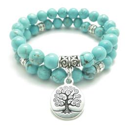 Yoga baum leben armbänder online-SN0643 Baum des Lebens Schmuck Yoga Mala Armband Türkis Heilung Schutz elastische Perlen Stapeln Armband spirituellen Schmuck