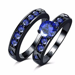 Wholesale Couples Blue Stainless Steel Rings - Never fade shiny blue Cubic Zircon Engagement couple Rings Sets 18k black Gold filled Wedding alliance For Women
