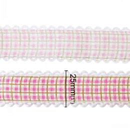 Dorabeads Terylene Satin Ribbon Wedding Craft Fuchsia Reticolo a griglia 25.0mm, 1 rotolo (Circa 20 Yards) M69537 arco a nastro per fare rifornimenti da