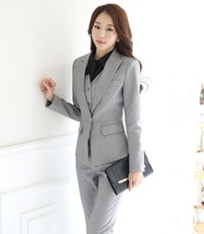 Wholesale Ladies Business Trousers - Wholesale-Novelty Grey Autumn And Winter Professional Female Pantsuits Ladies Office Business Jackets + Pants + Vest Ladies Trousers Set