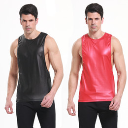 Wholesale Pu T Shirts - Men Sexy Vest Faux Leather PU Solid Color Black Red Male Sport GYM Tank Tops Sleeveless Tanktop T-shirts S M L Free Shipping