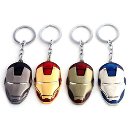 Wholesale Marvel Accessories Wholesale - Marvel Comics Super Hero The Avengers Iron Man Mask Metal KeyRing Keychain Holder Purse Bag Buckle Accessories Gift 4 Colors Free Shipping