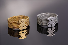 Wholesale Bear Jewelry Men - Europe and the net surface mesh belt steel ring stainless steel jewelry men bear