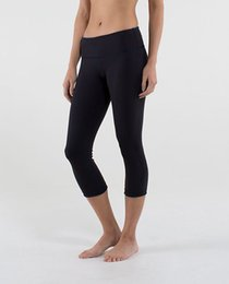 Wholesale Sportswear Fitness - Wholesale size 2-12 LULU crop with Logo Yoga Gym Elastic Pants leggings tights sportswear fitness Women Pant