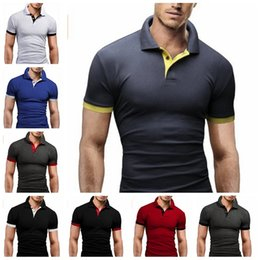 Wholesale White Contracts - Polos men T-shirt lapel polos bump color contracted with short sleeves T-shirt unlined upper garment of cultivate one's morality.Free