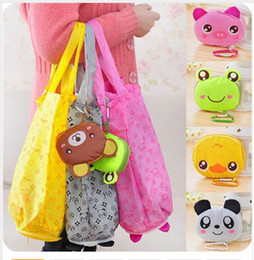 2019 riciclare la confezione regalo 2017 Cartoon Animal Pieghevole Pieghevole Shopping Tote Eco Bag riutilizzabile Panda Frog Maiale impermeabile borse per la spesa borse di stoccaggio