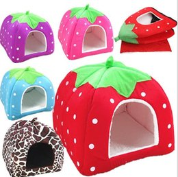 Wholesale Dog Kennel Cushions - Pet bed Winter super Warm Soft Indoor Dog House Strawberry Bed Pet Dog Cat Bed House Kennel Doggy Warm Cushion medium size 31*31cm