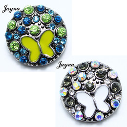 Wholesale Rhinestone Butterfly Charms - Hot Sale Trendy 18 20mm Snaps Button butterfly Charms Metal Rhinestones Snaps Fit Ginger Snap Jewelry Leather Snap Charm Bracelet GS1208121