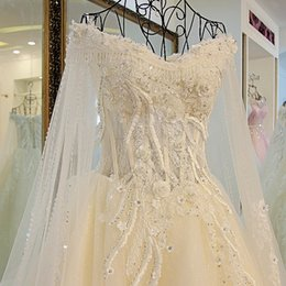 dreamlike wedding dress prices - Dreamlike 3 D Flowers Luxury Long Train Wedding Dresses New Real Sample A line Bridal Dresses