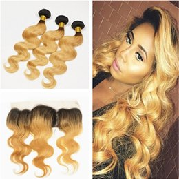 Wholesale Blond Hair Color - 9A Peruvian Honey Blond Hair With Lace Frontal 3 Bundles With 13*4 Full Lace Frontal Closure Dark Roots Ombre Human Hair Body Wave