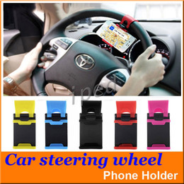 Wholesale Steering Wheel Mobile Holder - Universal Car Streeling Steering Wheel Cradle Holder Smart Clip Car Bike Mount for Mobile iphone samsung Phone GPS + retail box cheap 200pcs