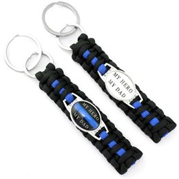 Wholesale Orange Carabiner - (10 PCS lot) My Hero My Dad Paracord key Chain For Women Men Girl Outdoor Survival Blue Black Fashion Accessories