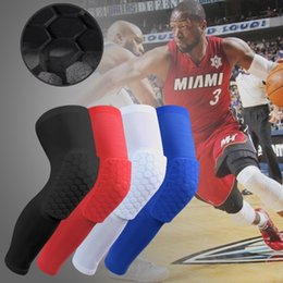 Wholesale Collision Wholesale - 2016 Long Honeycomb Anti-collision Basketball Knee Pads padded knee brace Compression Knee Sleeve Protector Sports Knee pads Free Shipping