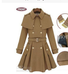 Wholesale Trench Blue Cape Coat - slim women's coats women's trench coats women's coats Women Outwear Cape-style woolen coat