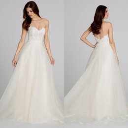 Wholesale Tara Keely Bridal Gowns - Sexy Lace Sweetheart A Line Wedding Dresses Tara Keely Tulle Backless Sweep Train Bridal Gowns Custom Made