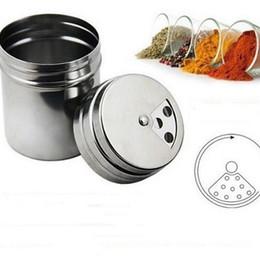Wholesale Salt Jars Bottle - Stainless Steel Spice Shaker Jar Sugar Salt Pepper Herbs 7.6*5CM Toothpick BBQ Bottle Flour Sifter Cup OOA3021