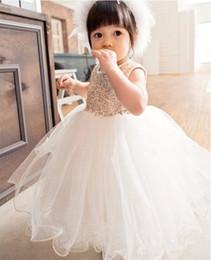 Wholesale Abiti da principessa Paillettes Baby Flower Girl Abiti Bow Backless Party Gown Abiti da damigella d onore formale senza maniche Abiti per bambini di alta qualità