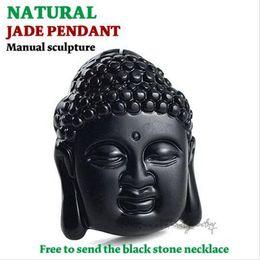 Wholesale Jade Buddha Pendants For Men - Fashion Black Buddha head pendant Natural obsidian Vintage Necklace For women men Free ROPE Fine Jade jewelry