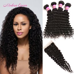 Wholesale Cheap Hair Weft Bulk - Mongolian Deep Wave Curly Lace Closure And 4 Bundles Hair Wefts Cheap Bulk Mongolian Wet And Wavy Human Hair Extension Deals Women Hair