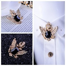 Wholesale Men Wedding Shirts Tie - New fashion Lapel pin suit Boutonniere yarn pin button brooches crown double eagle brooch pin vintage men shirts tie collar pins broches