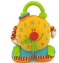 Wholesale Teddy Bear Clocks - Sale Germany TOLO Baby Toys Stuffed Plush Big Clock With Soft Mirror And Vibration Educational Toys For Baby 1PC Free Shipping 1230#30
