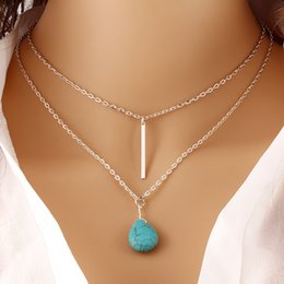 Wholesale double chain link necklace - Wholesale-Bohemia Turquoise Double Chain Heart Pendant Necklace Punk Classic Summer Body Chain Necklaces Fashion Jewellery Women PT33