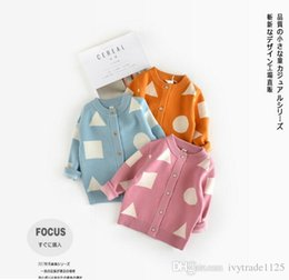 Wholesale Printing Manuals - In stock 3 color INS styles new arrival children long sleeve 100% Cotton triangle Circle print cardigan kids girl casual cute sweater coat