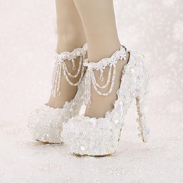 Wholesale Shoes High Platform Sequin - Sweet White Bride Shoes High Heel Platform Lace Strap Dress Shoes Sequined Tassels Wedding Shoes with Beautiful Ankle Straps