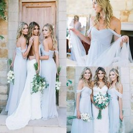Wholesale Ice Blue Chiffon - 2017 Draped Ice Blue Off-shoulder Beach Boho Long Bridesmaid Dresses Bohemian Wedding Party Guest Bridesmaids Gowns Cheap