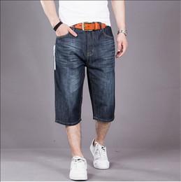 Wholesale Men S Baggy Shorts - Wholesale-Baggy Jeans Shorts Men Hip Hop 2016 New Fashion Plus Size Skateboard Calf Length Shorts Free Shipping Big Size 30-50