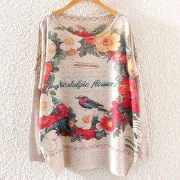 Wholesale vintage long sweater coat - Wholesale- 2016 Winter Vintage Fashion Women Batwing Sleeve Knitted Floral Bird Print Sweater Coat Jumper Pullover Knitwear Tops ST01A22