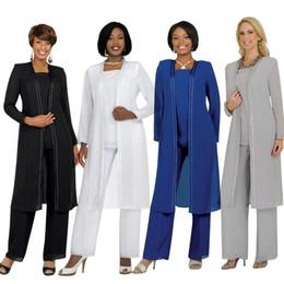 casacos de verão Desconto Vintage Plus Size Mãe Do Noivo Da Noiva Vestidos Com Calças Ternos Mangas Compridas Jaqueta Moda Verão Personalizado Do Vintage Vestido de Noite BO8536