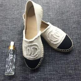 Wholesale Espadrilles Ladies Shoes - classic Luxury Brand Fashion Ladies Casual Espadrilles Loafers Flats shoes women Genuine Leather Leisure Platform Espadrille 42