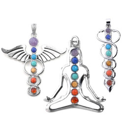 "vogue pendant Coupons - vogue 7 chakra healing stones pendant for necklace making,3 style- yoga angel sword,2.3""-2.5"""