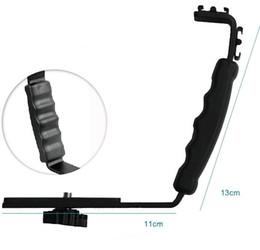 Wholesale Video Camera Brackets - L Flash Bracket Mount 2 Hot Shoe For Camcorder Mic Microphone Video Light Camera