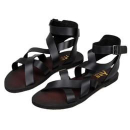 Wholesale Trendy Summer Sandals - New Trendy Summer Men Ankle Strap Buckle Strap Beach Shoes Roman Gladiator Cross-tied Leather Sandals