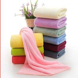 Wholesale Plain Hand Towels - Coral Fleece Towel 35*75cm Face Bath Towel Washcloth Soft Hand Hair Towels Plain Quick Dry Towel Bathroom KKA2824
