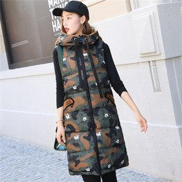 Wholesale Womens Winter Sleeveless Vests - Womens Winter Warm Thick Long Hooded Vest Coats For Female 2017 New Fashion Loose Sleeveless Parkas Outerwear Waistcoat