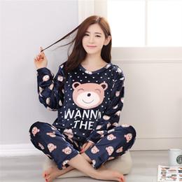 Wholesale Thermal Set Women - Winter Thickening Cute Flannel Pajamas Suit Pregnant Women Coral Velvet Long Sleeved Thermal Sleepwear Long Sleeve Nursing Set