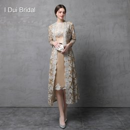 Wholesale Three Piece Dresses - Two Piece Mother of the Bride Dress with Long Lace Jacket Knee Length Three Quarter Sleeve